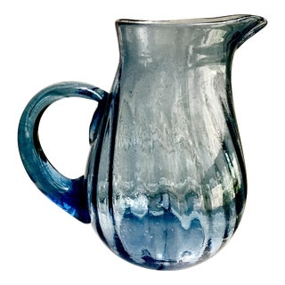 Vintage Hand Blown Blue Optic Swirl Bubble Glass Pitcher