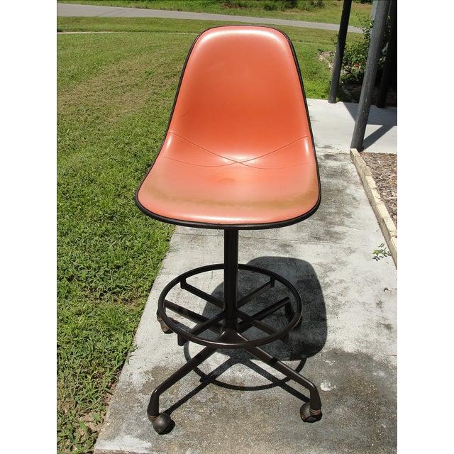 Eames Mid-Century Orange Bar Stool - Image 2 of 9