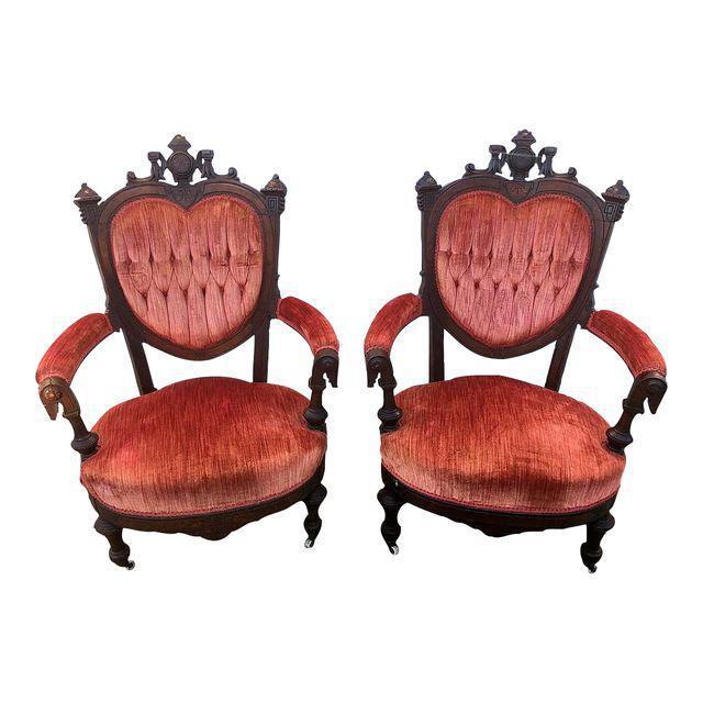Antique Eastlake Heart-Back Red Velvet Settee & Chairs- Set of 3 - Image 4 of 9