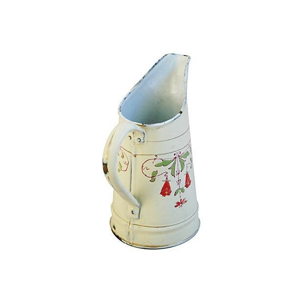 Antique 1930s French Hand-Painted White Pitcher - Image 5 of 7