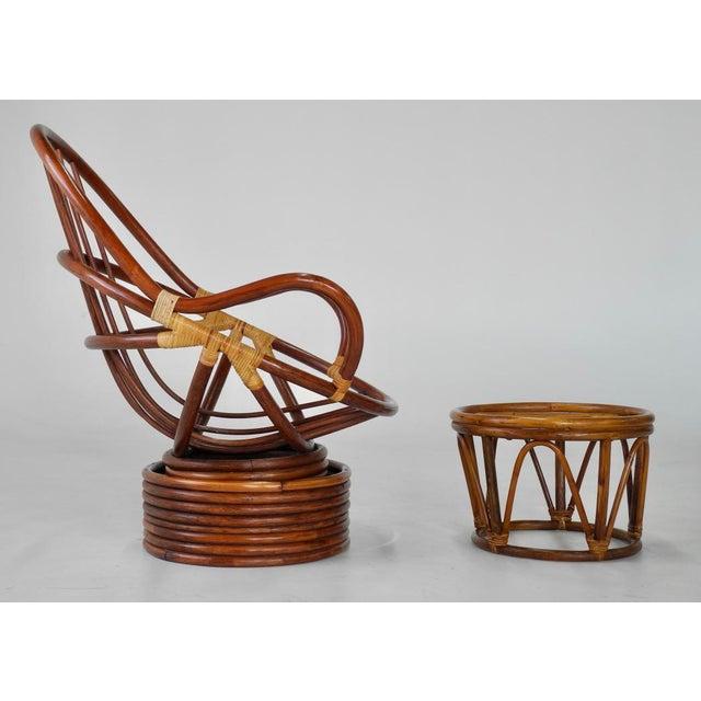 Image of Mid-Century Swivel Rattan Bamboo Pod Chair & Ottoman
