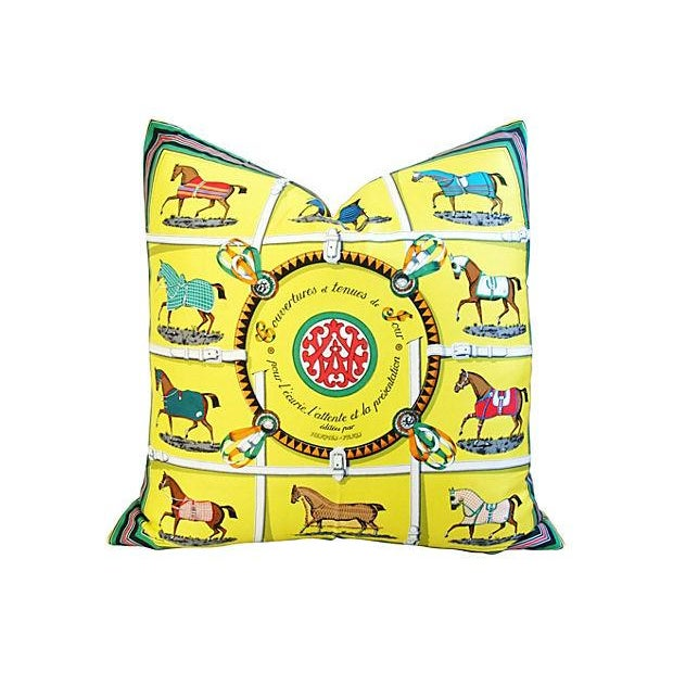 """Hermes """"Jacques Eudel"""" Equestrian Silk Pillow - Image 1 of 6"""