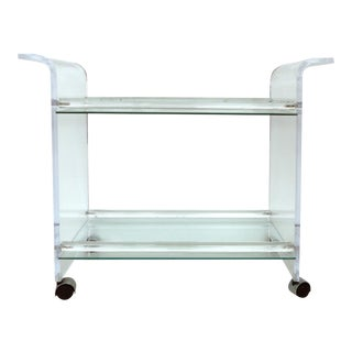 Mid-Century Lucite & Glass Bar Cart