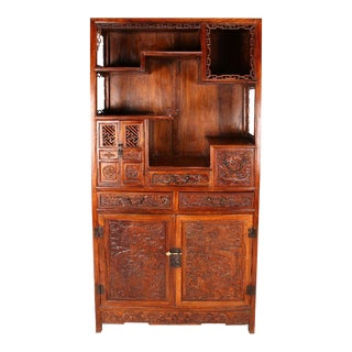 Carved Chinese Huanghuali Dragon Cabinet