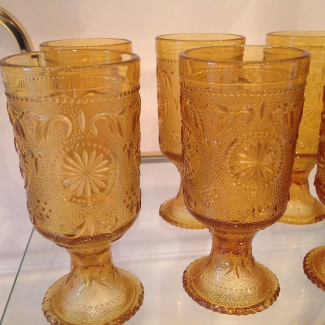 Vintage Amber Glass Tumblers - Set of 8 - Image 3 of 4