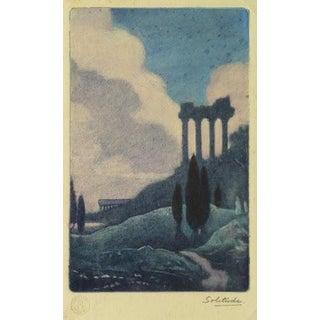 Antique Italian Columns Etching, C. 1895