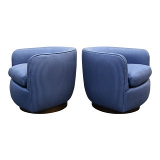 Mid-Century Swivel Barrel Chairs - A Pair