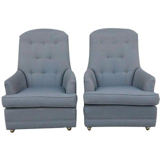 Slate Gray Upholstered Armchairs - A Pair