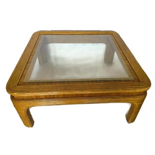 Vintage Split Reed Bamboo Coffee Table