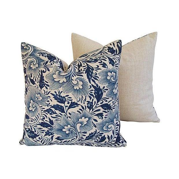 Indigo Blue Floral Linen Pillows - a Pair - Image 5 of 7