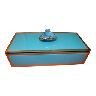 Turquoise Geode Glass Trinket Box