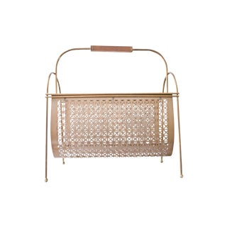 Starburst Atomic Metal and Wood Magazine Rack Reco