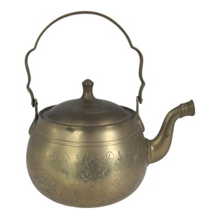 Vintage Etched Brass Teapot