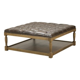 Spectra Home Traditional Tufted Leather Ottoman