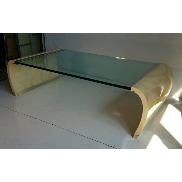 Drexel Lacquer & Glass Waterfall Coffee Table - Image 2 of 7