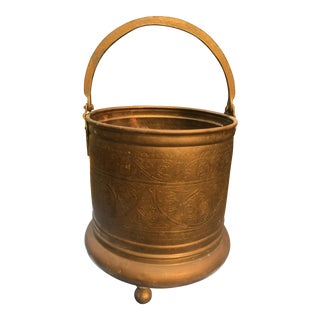 Vintage India Import Etched Brass Footed Bucket
