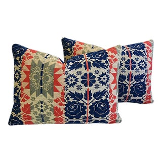 Custom 19th-C. New England Coverlet Feather/Down Pillows - Pair