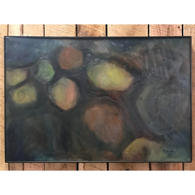 Mid-Century Black Framed Abstract Painting - Image 3 of 5