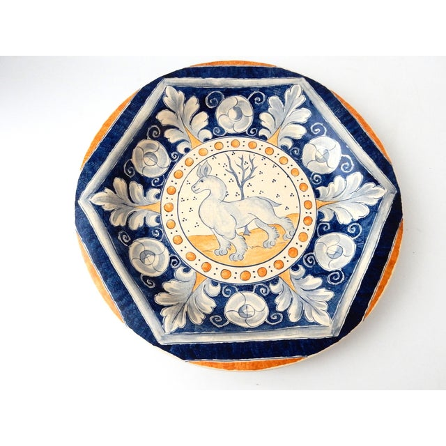 Vintage Italian Blue & Yellow Majolica Platter - Image 2 of 6