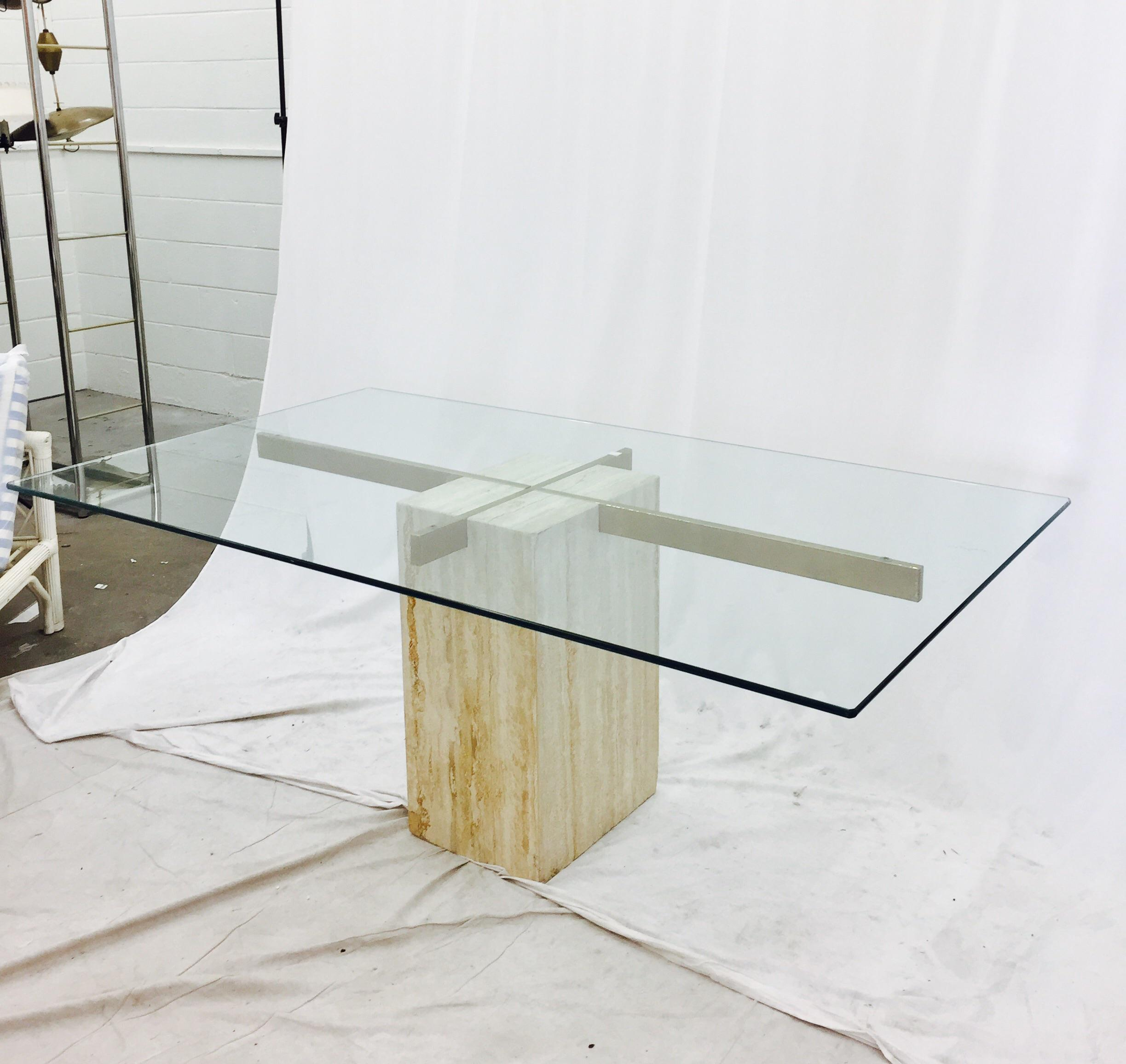 Ello Italian Travertine Marble U0026 Brass Glass Top Pedestal Table   Image 2  Of 11