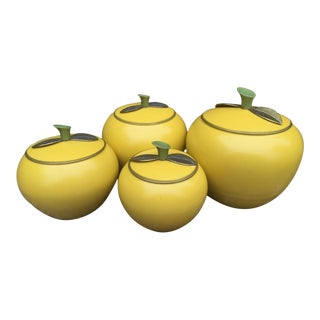 1950 Vintage Aluminum Yellow Apple Canisters - S/4