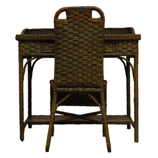 French Wicker Writing Table Desk & Chair
