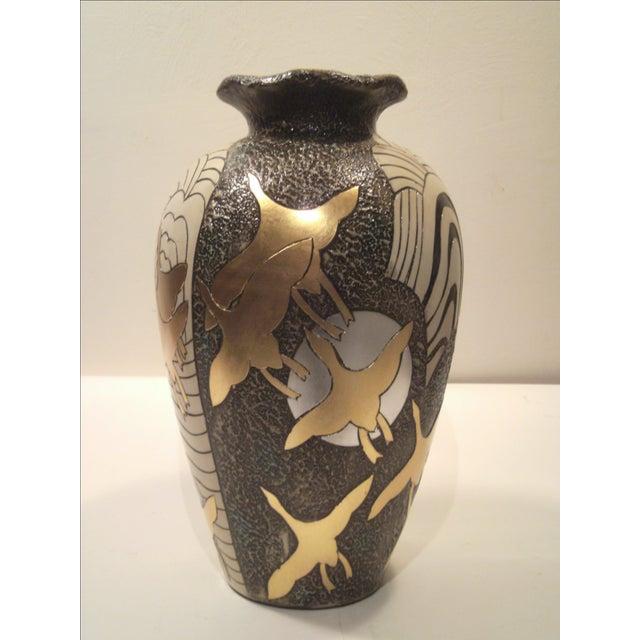 Large Alexander Kalifano Gold & Silver Leaf Vase - Image 2 of 10