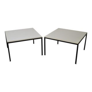 Knoll Black Iron Base Square White Top Side Tables - A Pair