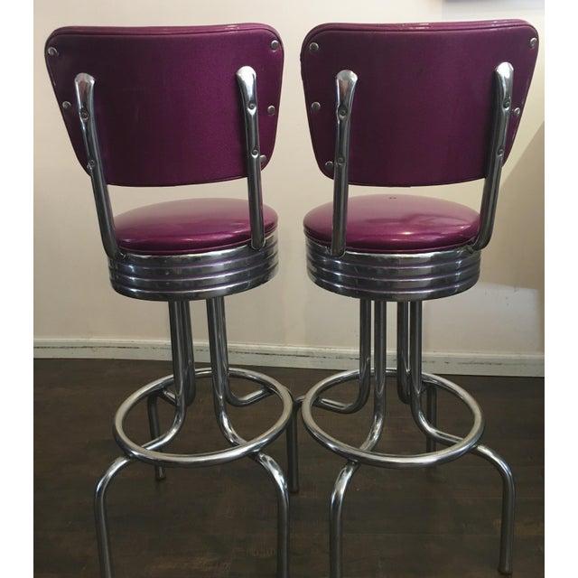 Purple Sparkle Vinyl & Chrome Barstools - a Pair - Image 6 of 6
