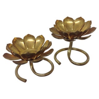Gumps Footed Brass Lotus Blossoms - a Pair