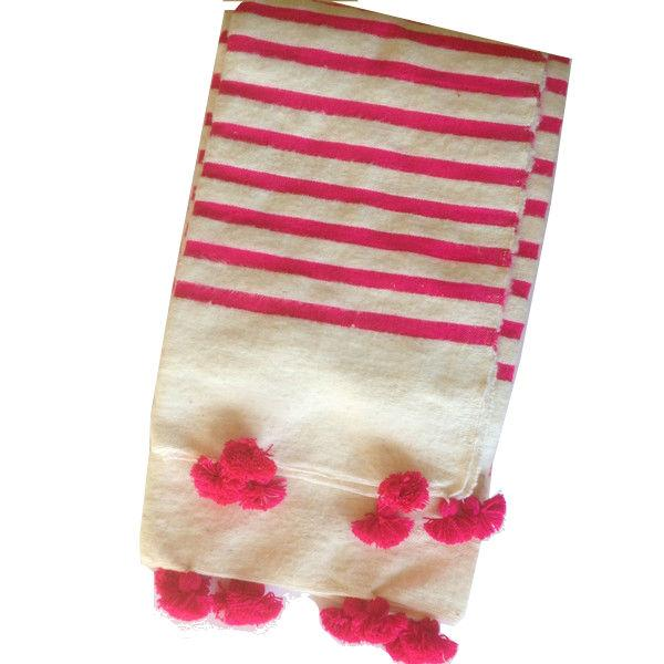 Pink Striped Moroccan Blanket with Tassels - Image 1 of 3
