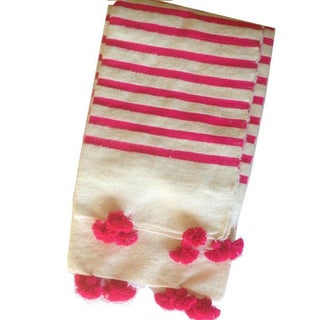 Pink Striped Moroccan Blanket with Tassels