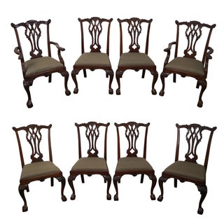 Solid Mahogany Ball & Claw Foot Chippendale Dining Chairs - Set of 8