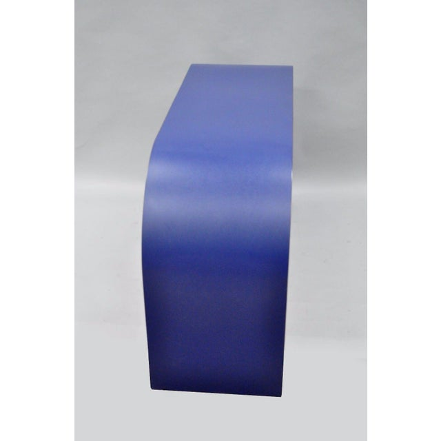 Mid Century Post Modern Blue Laminate Curved Waterfall Console - Image 4 of 11