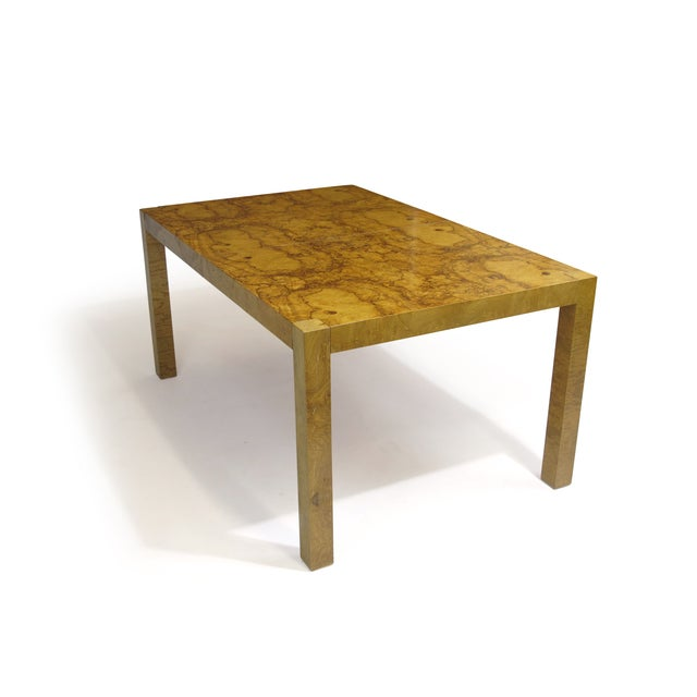 Burled Olive Parsons Dining Table - Image 4 of 9
