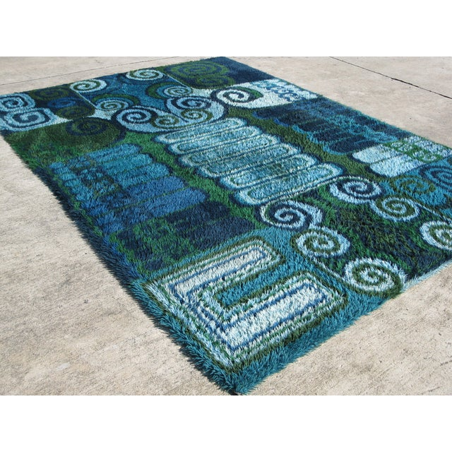 Room Size Vintage Scandinavian Rug - 7′10″ × 11′4″ - Image 3 of 4