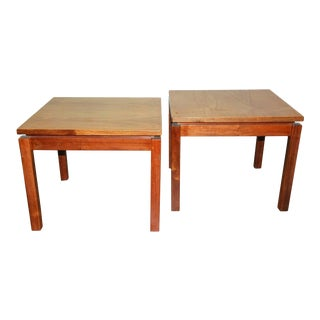 1970s Brazilian Jacaranda Wood Square Side Tables - a Pair