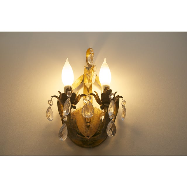 Crystal & Aged Brass Sconces - A Pair - Image 2 of 5