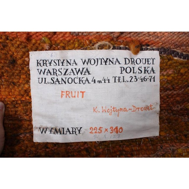 """Large Tapestry by Krystyna Wojtyna-Drouet Titled """"Fruit"""" - Image 9 of 10"""