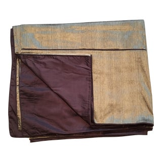 Gold & Brown Loomed Silk Coverlet
