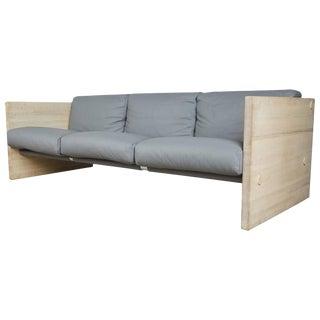 Milo Baughman Style Gray Leather and Oak Sling Sofa, Circa 1970
