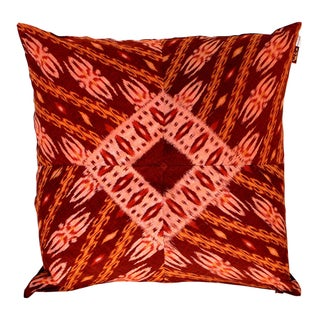 Balinese Ikat Pillows in Red & Orange - A Pair