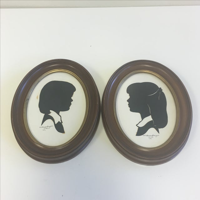 Vintage Boy & Girl Silhouettes, 1972 Signed - Pair - Image 2 of 11