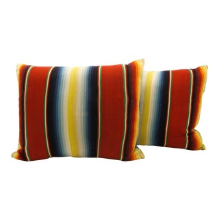 Vintage Serape and Denim Pillow - A Pair