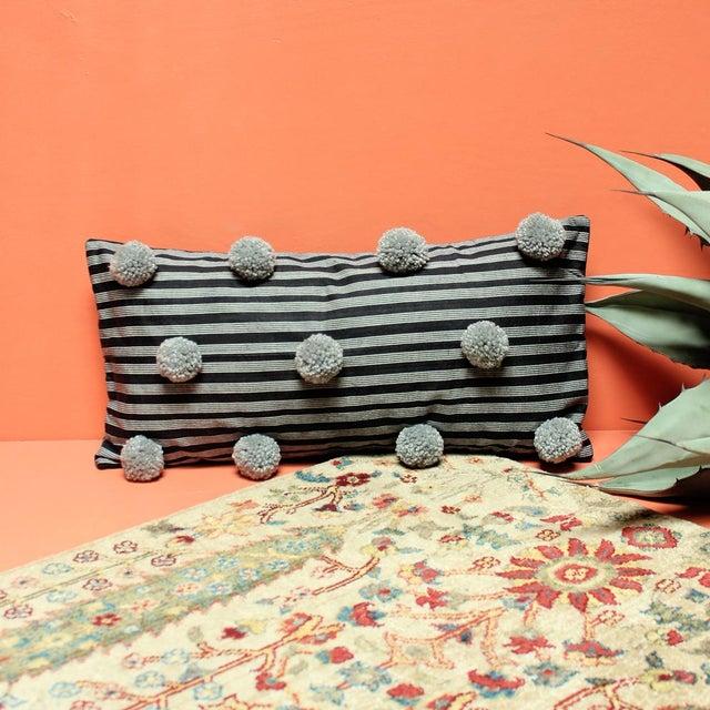 Black Handwoven Lurik Striped Pillow With Concrete Grey Pom-Poms - Image 3 of 7