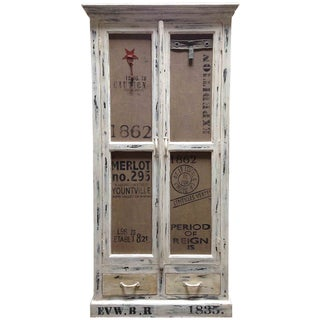 Distressed White Double Door Cabinet