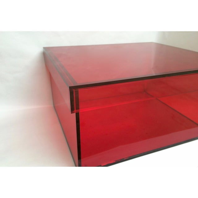 Vintage Red Acrylic Storage Box - Image 4 of 7