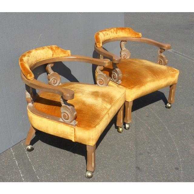 Hollywood Regency Orange Velvet Chairs - A Pair - Image 3 of 11