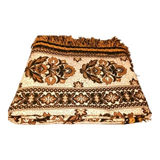 Vintage Mid-Century Brown & Gold Damask Bedspread