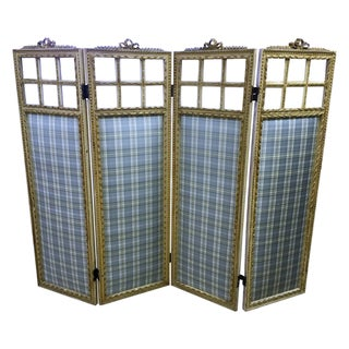 Antique 19th Century French Style Blue Room Screen